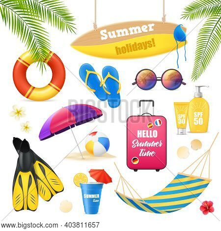 Summer Holidays Tropical Beach Vacation Accessories Realistic Images Set With Surfboard Suncream Lif