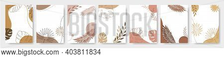 Set Of Design Frames With Space For Text, Template Flowers And Leaves Frames. Greeting Card, Wedding