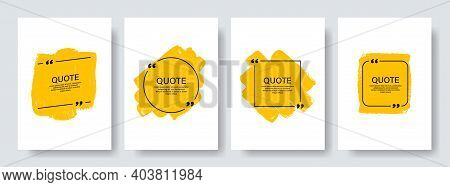 Quote Box Frame, Big Set. Texting Quote Boxes. Blank Template Quote Text Info Design Boxes Quotation
