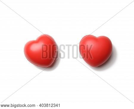 Red Rubber Heart Isolated On White Background, Close Up