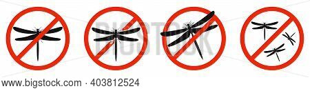 Dragonfly Icons Set. Stop Dragonfly Sign Isolated. Icon Of Ban Of Dragonfly. Vector Illustration.