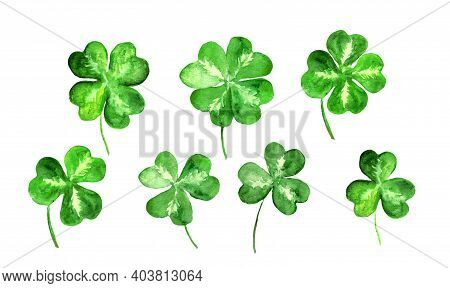 Set Of Trefoil, Clover Leaves With 3, 4 Four Leaf. Watercolor Collection For St Patrick Day. Celtic,