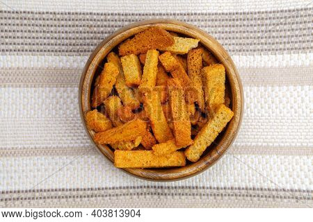 Croutons Brown Pieces Of Dried Bread In Bowl. Top View