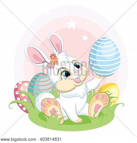 Cute White Bunny Looking At The Easter Egg. Colorful Illustration Isolated On White Background. Cart