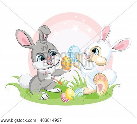Cute White And Gray Bunnies Paints Easter Eggs. Colorful Illustration Isolated On White Background.