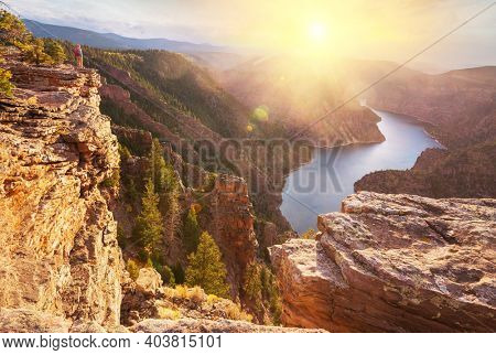 Hiker in Flaming Gorge recreation area