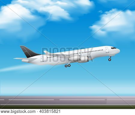 Large Modern Passenger Airliner Jet Takeoff Realistic Air Transportation Services Advertisement Post