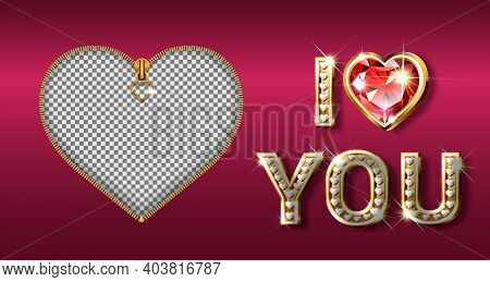 The Word I Love You. Gold Letters In The Shape Of A Heart With Sparkling Diamonds. Valentine S Day B