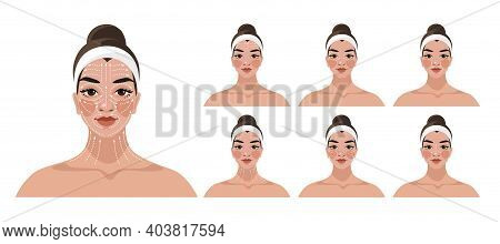 Step-by-step Instructions For Face And Neck Massage, Face Rejuvenation, Lifting, Anti-aging Cosmetic