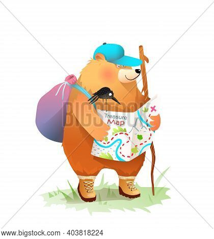 Bear Camper Reading Treasure Map, Trekking And Exploring, Animal Adventures Illustration For Kids, I