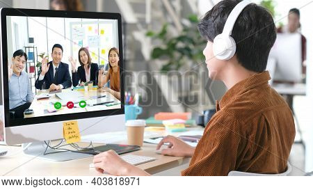 Virtual Video Conference, Work From Home, Brainstorm Planing Teamwork, Asian Business Team Making Vi