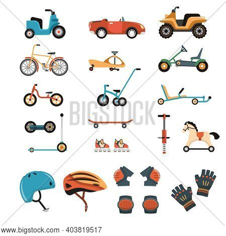 Child Safety Body Protection Sport Equipment Protective Isolated Images Set With Playcars Bicycles K