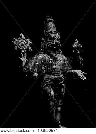Hindu God Narsingh Sculpture, Black And White