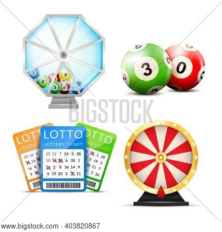 Lottery Set With Isolated Images Of Number Balls Lucky Dip Lottery Machine And Playslip Tickets Vect