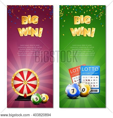 Lottery Vertical Banners Set With Decorative Images Of Confetti Realistic Gaming Accessories Lottery
