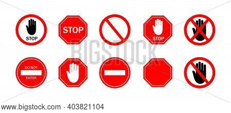 Stop Sign. Icon Of Ban For Traffic Car On Road. Red Sign Of Stop With Hand. Symbol Of Restricted Of