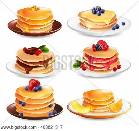 Maple Syrup Pancakes Set Of Six Isolated Dish Images With Different Ingredients Berries And Fruit Sl