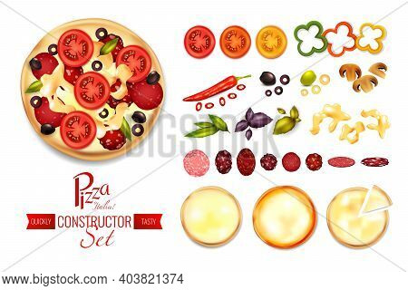 Pizza Constructor Set With Flat Isolated Images Of Spices Tomato Salami And Crust Slices With Text V