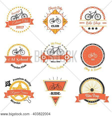 Bicycle Vintage Emblems Color Collection Of Nine Isolated Decorative Oldschool Labels With Crawler W