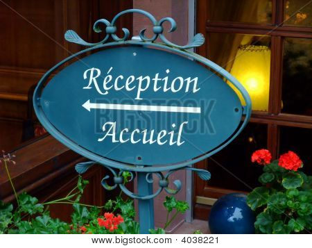 Reception Sign Of An French Hotel