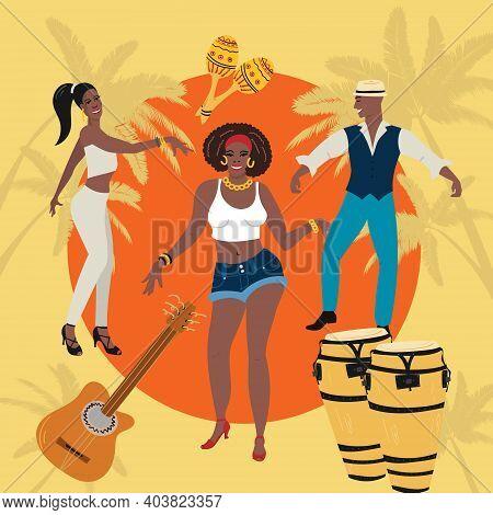Man, Woman At The Party Dancing Hold Lating Dance, Slasa, Cha-cha, Rimba, Mambo. Tropical Background