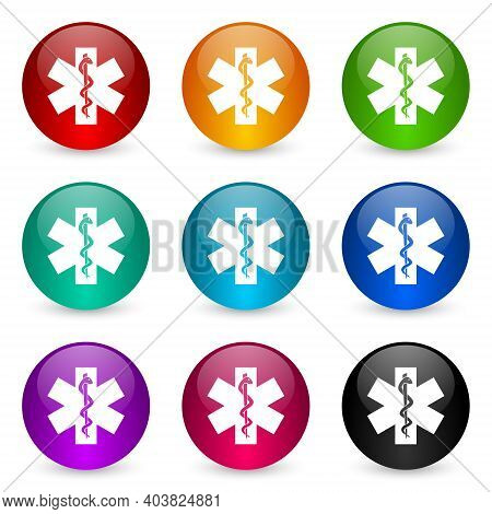 Emergency Icon Set, Colorful Glossy 3d Rendering Ball Buttons In 9 Color Options For Webdesign And M
