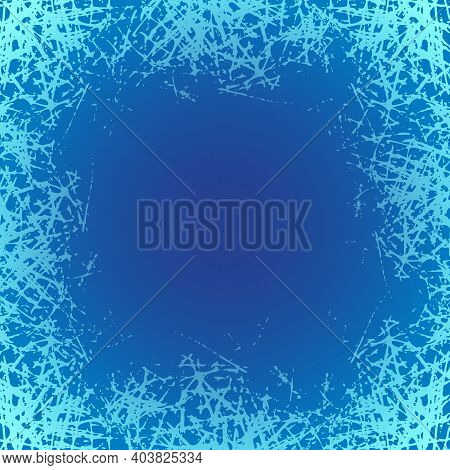 Blue Frosted Texture In Winter Window. Snow Frame With Frosty Patterns. Jpeg Ice Crystals Design Ill