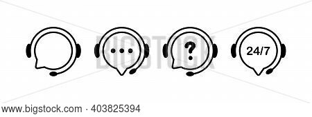 Support Service Line Icons. Chat Vector Icons. Customer Support. Headset Symbols. Hotline Concept. V