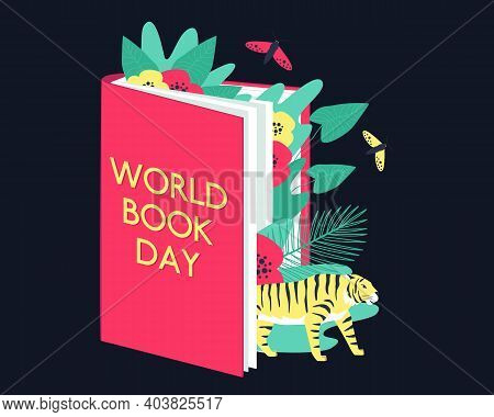 A Tiger, Plants And Butterflies Look Out From The Pages Of The Book. World Book Day. Encyclopedia Of