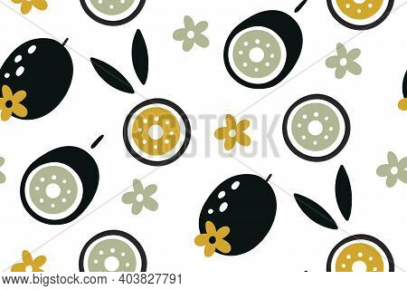 Kiwi Seamless Pattern. Hand Drawn Fresh Tropical Fruit. Doodle Fruits. Vector Repeat Background For