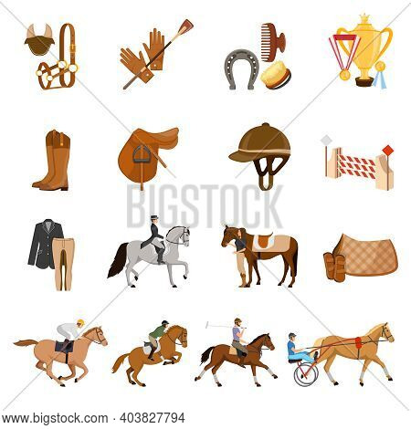 Equestrian Sport Set Of Flat Icons With Trotters, Horse Gear, Care Objects, Riders, Trophies Isolate