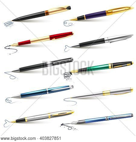 Colored And Realistic Business Fountain Pen Icon Set With Blue Black Ink And Ballpoint Fountain Pens