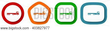 Truck With Long Semi Trailer, Transport Vector Icon Set, Flat Design Buttons On White Background