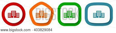 Office Buildings Vector Icon Set, Flat Design Buttons On White Background