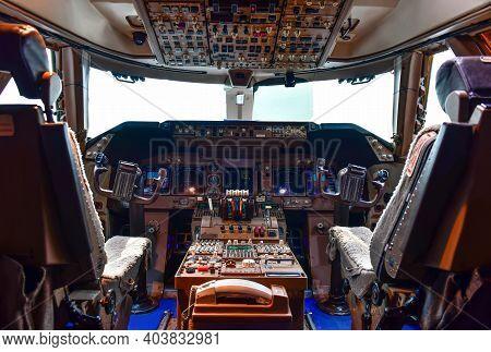 Interior View Of Modern Instruments In Cockpit Airplane