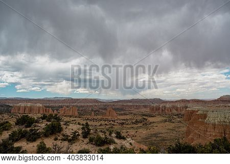 Looking Out Over Cathedral Valley In Summer In Capitol Reef National Park's Wilderness Area