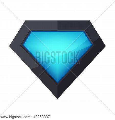 Plastic Superhero Logo On White Background. Vector Illustration. Glossy Shiny Superhero Logo.