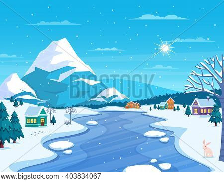 Winter Landscape And Town With Mountains And Frozen River Flat Vector Illustration