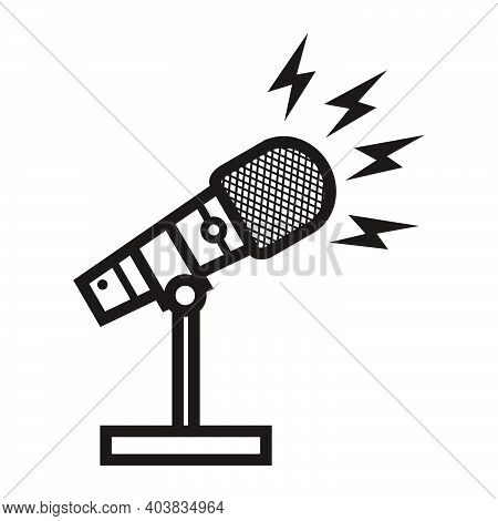 Silhouette Of Broadcasting Microphone With Lightning Sign For News Anchor, News Live, Television Or