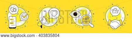 Honeymoon Cruise, Heart And Balloon Dart Line Icons Set. Cell Phone, Megaphone And Deal Vector Icons