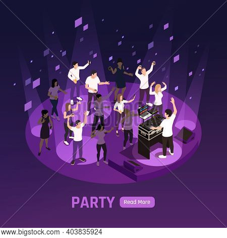 Dj Disco Stage Laser Projector Strobe Lights Effects Dark Violet Night Party Background Isometric Co