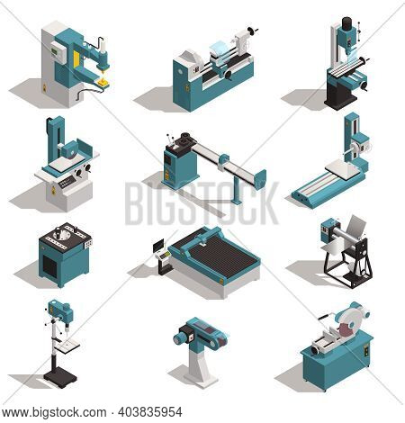 Metalworking Equipment Isometric Set With Metal Turning Lathe Cutting Drilling Bending Rod Rolling M