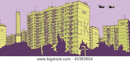 Tower blocks in city