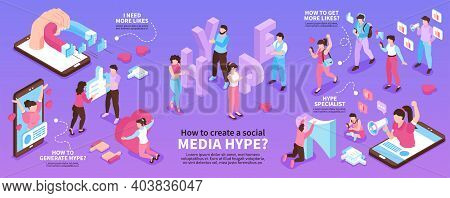 Isometric Hype Social Media Infographic Set With I Need More Likes How To Generate Hype How To Get M