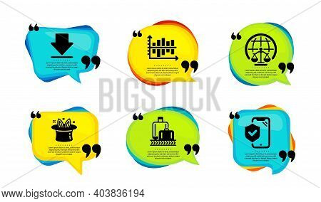 Magistrates Court, Diagram Chart And Downloading Icons Simple Set. Speech Bubble With Quotes. Baggag