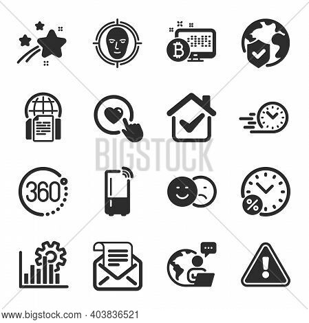 Set Of Technology Icons, Such As Mail Newsletter, Loan Percent, Like Symbols. 360 Degrees, Bitcoin S