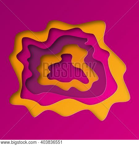 Colorful Background From Cut 3d Paper Layers With Shadow. Vector Illustration. Abstract Paper Cut Te