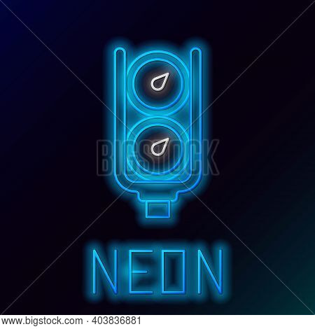 Glowing Neon Line Gauge Scale Icon Isolated On Black Background. Satisfaction, Temperature, Manomete