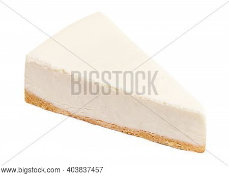 Slice Of Classical Plain  New York Cheesecake  Isolated On A White Background. Piece Of Delicious Ca