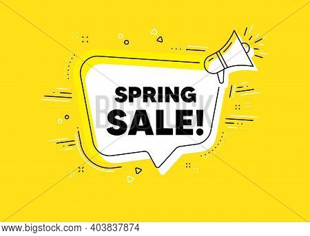 Spring Sale. Megaphone Yellow Vector Banner. Special Offer Price Sign. Advertising Discounts Symbol.